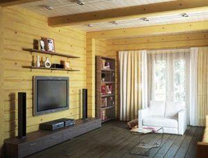 Деревянные стены и потолок